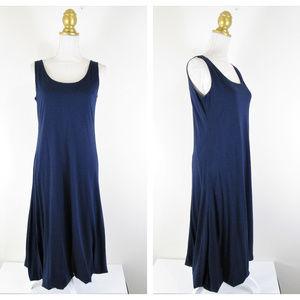 Garnet Hill Navy A Line Bubble Hem Knit Midi Dress